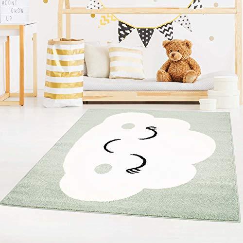 carpet city Kinderteppich Bubble Kids Flachflor mit Wolken-Motiv in Mint-Grün für Kinderzimmer; Größe: 140x200 cm