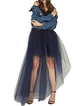FEOYA High Low Tulle Skirts Layered Adult Tutu Skirt Mesh Elastic Waistband Gown Wedding Dovetail Skirts Royal Blue