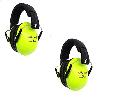 2 Paar Kiddie Muff® Kinder Ohrenschützer Gehörschutz für Kinder und Jugendliche Kapselgehörschutz 26dB Dämmwert in Neongelb
