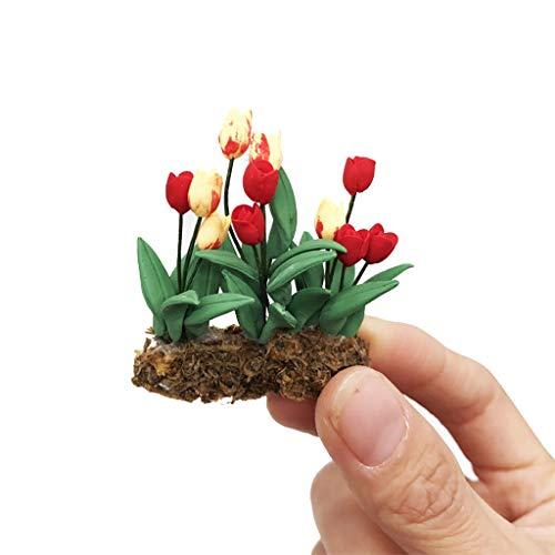 Mini Dollhouse Miniature Green Plant in Pot Fairy Garden Flowers Handmade Tiny Bonsai Dollhouse Garden Accessory Gift for Girls