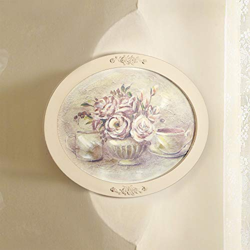 Angelica Home & Country Quadro Ovale con Cornice Peonie Vintage Shabby Chic 50 x 40