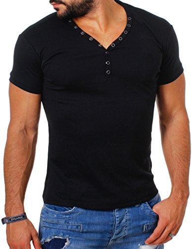 Young & Rich Herren Uni feinripp Basic T-Shirt mit Knopfleiste & tiefem V-Ausschnitt deep V-Neck Slim fit einfarbig 1873, Grösse:L;Farbe:Schwarz