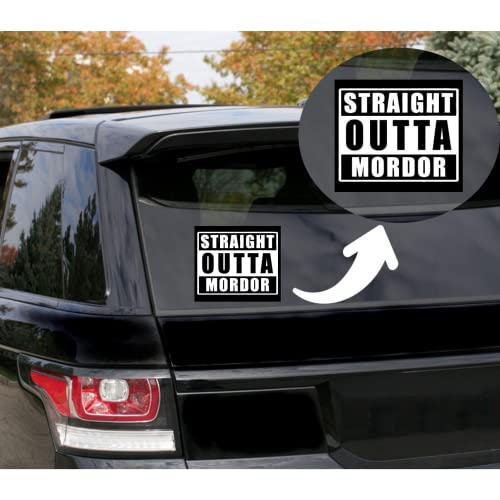 Rohansson Retail & Deals Straight Outta Mordor Vinyl Decal Sticker for Cars Trucks Vans / Laptop MacBook Compatible with All MacBook Pro, Clear Printed Decal Sticker RRD586 5.5 White