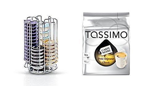 Bosch Tassimo Kapselhalter für 52 Stück T-Discs - 574959 - Kapselspender Kapselständer + 1 Packung Carte Noire Petit Déjeuner