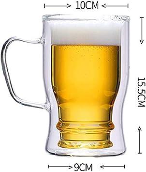 per vino cappuccino e caff/è espresso resistente al calore isolante 500 ml Boccale da birra in vetro con manico da 550 ml in vetro termico per bevande fredde e calde t/è doppia parete