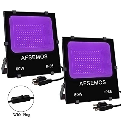 60W LED Black Light, Flood Light Outdoor with Plug, AFSEMOS IP66 Waterproof for Blacklight Parties Indoor and Outdoor, Stage Lighting, Aquarium, Fluorescent Effect, Glow in the Dark, Curing (2 Pack)