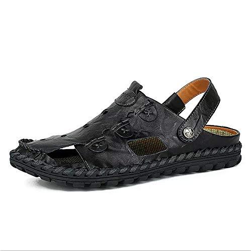 Sandalias Deportivas Hombres Verano Cuero Trekking Zapatillas Pescador Exterior Senderismo Playa Zapatos Casuales Chanclas Transpirable(Negro,41/42 EU,26.5CM De talón a Dedo del pie