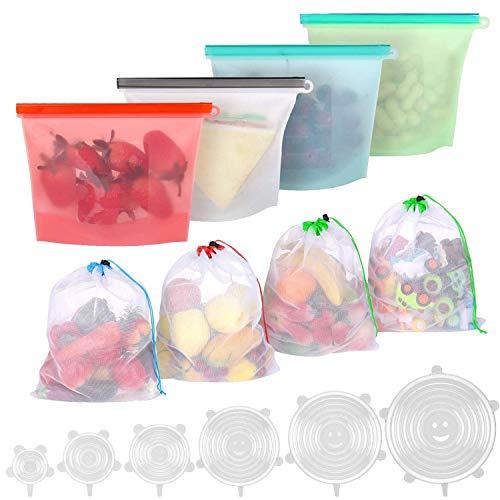 BBLIKE 6 x Tapas Silicona Ajustables Cocina, 4 x Bolsas Silicona Reutilizables, 4 x Bolsas Reutilizables Fruta y Vegetales, Sin BPA para Congelador, Microondas, Conservación de Frescura y Cocción