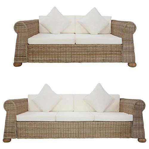 vidaXL Sofagarnitur 2-TLG. mit Auflagen Couch Sofa Loungesofa Sitzmöbel Wohnzimmersofa Rattansofa Couchgarnitur Designsofa Natur Rattan