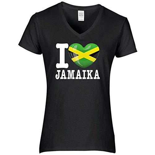 FanShirts4u Damen T-Shirt - I Love Jamaika Jamaica - WM Trikot Liebe Herz Heart (S, Jamaika/schwarz)