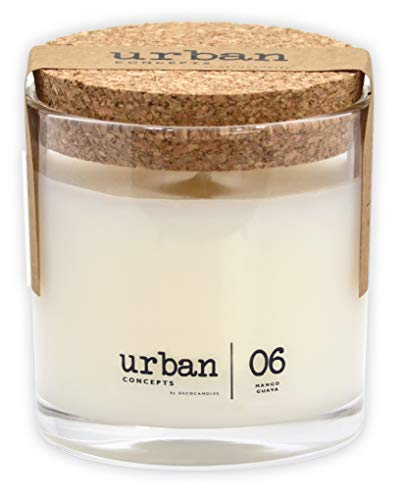 Urban Concepts by DECOCANDLES   Lush- Mango Guava - Highly Scented Candle - Long Lasting - Hand Poured in The USA - Hotel Inspired Collection - 6.7 Oz. w/Cork lid