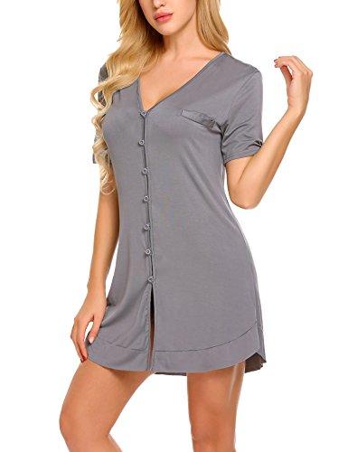 Avidlove Damen Viktorianisch Nachthemd T-shirt Luxus Nachtwäsche- Gr. XXL, Kurzarm 4: Dunkelgrau