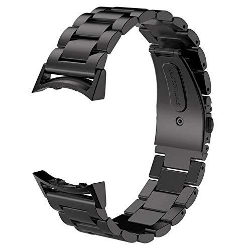 DFKai1run Correa de Acero Inoxidable, For El Reemplazo del Engranaje S2 Venda De Reloj del Metal del Acero Inoxidable Bandas Correa De Muñeca Relojes Inteligentes Deportes de Moda (Color : Negro)