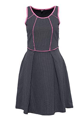 Mexx Damen Tailliertes Kleid Mit Kontrastierenden Einfassungen Rundhals ärmellos Jerseykleid Tailliert Kariert