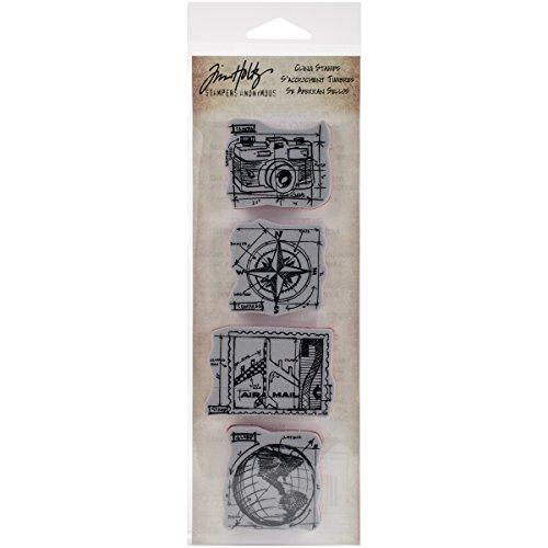 Stampers Anonymous Tim Holtz Mini Blueprints Strip Cling Rubber Stamps, 3' by 10', Travel