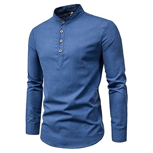 Camisa de Cuello Alto de Color slido para Hombre, Camiseta de Manga Larga con Personalidad, cmoda, verstil, bsica, Jersey, Camiseta 3XL