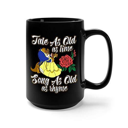 Amo el cuento de hadas de la bella y el cuento de la bestia tan antiguo como el tiempo taza de café - regalo negro para un amigo amante madre padre marido esposa hijo hija en navidad cumpleaños acción