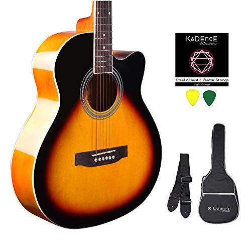 Kadence Frontier Series, Sunburst Acoustic Guitar Combo(Bag,strap,strings and 3 picks)