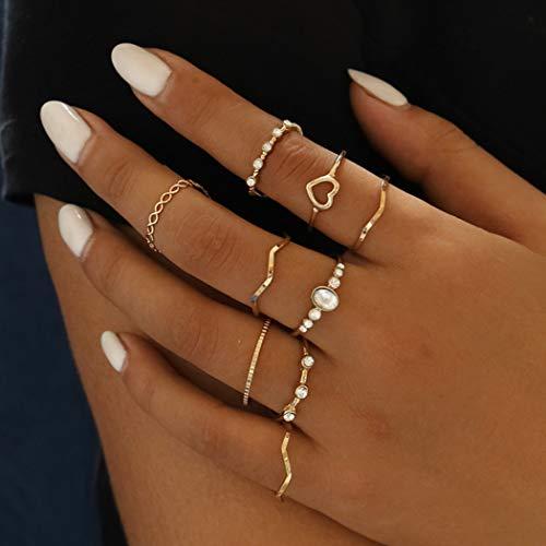 Mayelia - Set di 9 anelli in oro per donne e ragazze