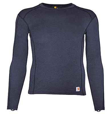 Carhartt Men's Force Heavyweight Polyester-Wool Base Layer Long Sleeve Shirt, Deep Navy Heather, Medium