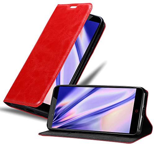 Cadorabo Hülle für ZTE Nubia Z11 MAX in Apfel ROT - Handyhülle mit Magnetverschluss, Standfunktion & Kartenfach - Hülle Cover Schutzhülle Etui Tasche Book Klapp Style