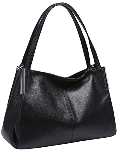 Heshe Women's Leather Handbags Top Handle Totes Bags Shoulder Handbag Satchel Designer Purse Cross Body Bag for Lady (Black)