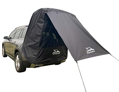 Hasika Tailgate Shade Awning Tent for Car Travel Small to Mid Size SUV Waterproof 3000MM (Black)