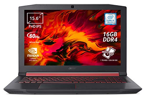 Acer Nitro 5 AN515-52-588Y Notebook Gaming con Processore Intel Core i5-8300H, RAM 16 GB DDR4, 256GB SSD, HDD 1000 GB, Display 15.6' FHD IPS LED, NVIDIA GeForce GTX 1050Ti 4GB GDDR5, Windows 10 Home