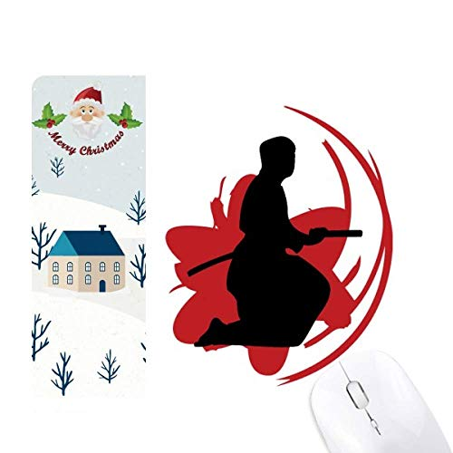 Bushido Samurai Katana Sakura Outline Japan Santa Claus House - Alfombrilla para ratón