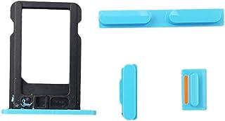 Smartex® Boton Lateral Azul + Bandeja por Tarjeta SIM Compatible con iPhone 5C / Tecla por Power ON Off, Volumen, Mudo