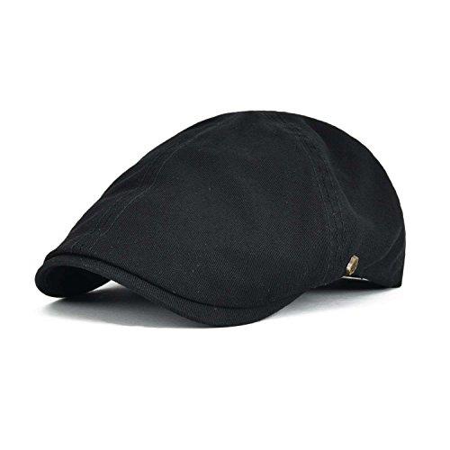 VOBOOM Cotton Flat Cap Cabbie Hat Gatsby Ivy Cap Irish Hunting Hat Newsboy (Black)