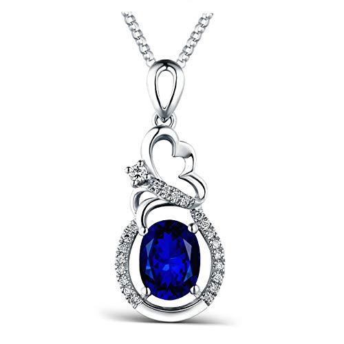 Daesar Collana Donna Oro Bianco 18K Vero 2ct Diamante Fiore Zaffiro Blu Ovale Collane Donna Ciondolicollana Argento Girocollo