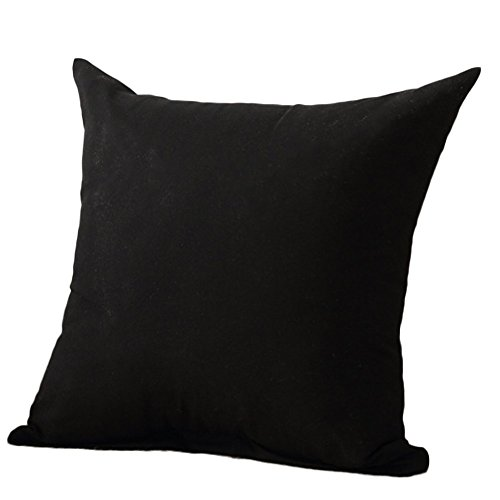 spaufu Soft Polyester Square Throw Pillow Case Cushion Cover Pillowcase for Sofa Color Pure Simple Decor Bed Bedroom Home Office Chair Sofa Car Black 45x45cm (without Filling)