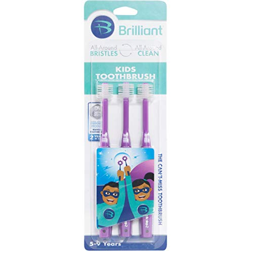 Price comparison product image Brilliant Kids Toothbrush Ages 5-9 Years - When Adult Teeth Appear - BPA Free Super-Fine Micro Bristles Clean All-Around Mouth,  Kids Love Them,  Purple,  3 Count
