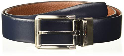 Tommy Hilfiger Men's Leather Belt (TH/CARMELOREV0803XL_Navy/Cognac_X Large)