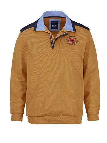BABISTA Herren-Sweatshirt mit Kragen – bestickter Freizeit-Pullover aus Reiner Baumwolle, Sportiver Langarm-Pulli in Gelb, Gr. 50
