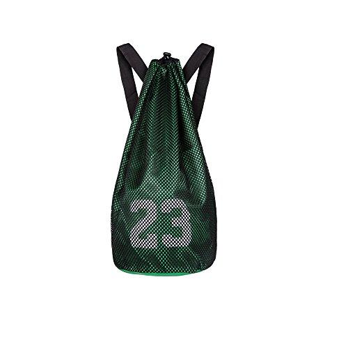 Escomdp 2 Capas 230 g Mochila de Deportes de Baloncesto con Cordón, Bolsa de Voleibol de Fútbol, 29 L (Verde)