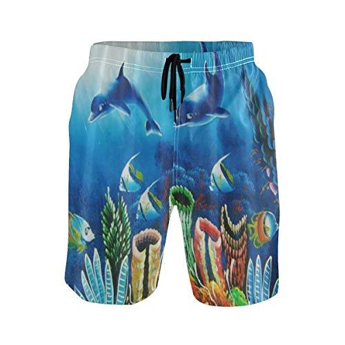 LISNIANY Badehose für Herren,Malstil Unterwasser Dolphin Coral Reef,Badeshorts für Männer Surfen Strandhose Schwimmhose(M)