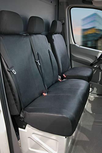 Walser Autoschonbezüge Transporter Passform, Sitzbezug anthrazit kompatibel mit Mercedes Sprinter (Kunstleder, Einzel- & Doppelbank)