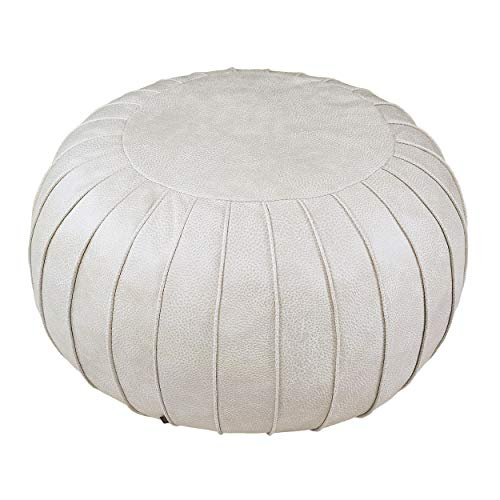 """Thgonwid Handmade Suede Pouf Footstool Ottoman Faux Leather Poufs 23"""" x 14"""" -Round Floor Cushion Footstool"""