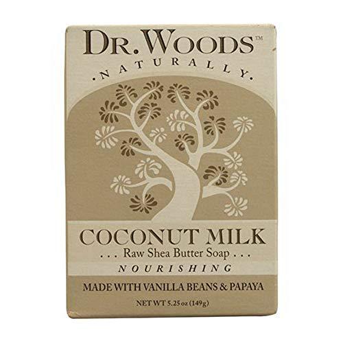 Dr. Woods Pain de savon - A base de beurre de karité, de lait de noix de coco et de gousse de vanille - En boîte - 149 g