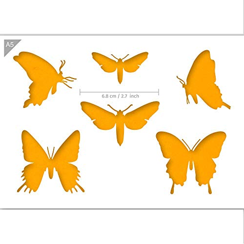 QBIX Schmetterling Schablone, Schmetterling Silhouetten Schablone - A5 Größe - Wiederverwendbare Kinder freundlich DIY Schablone zum Malen, Backen, Basteln, Wand, Möbel