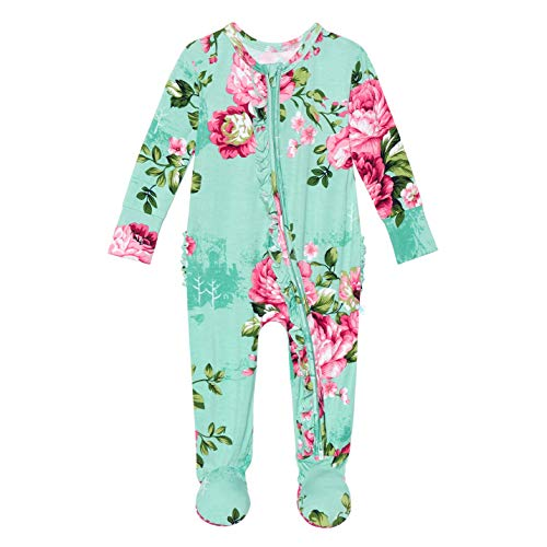 Posh Peanut Baby Rompers Pajamas - Newborn Sleepers Girl Clothes - Kids One Piece PJ - Soft Viscose from Bamboo (Aqua Floral, 3-6 Months)