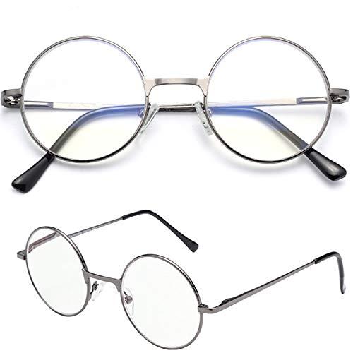 (レンサン) LianSan老眼鏡 丸 メガネ サークル ロイド ラウンド レディース メンズ 女性 男性 ファッション おしゃれな シニアグラス リーディンググラス 老眼鏡 L6800 (+1.00, グレー)