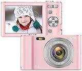 Vnieetsr Digitalkamera, 2,7K Full HD Fotokamera, 44MP 16X Zoom-Kompaktkamera mit 2,88 Zoll IPS-LCD-Bildschirmtaschenkamera für Kinder, Schüler, Schule, Kinder, Fotografie (rosa)