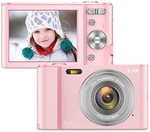 Cámara Digital Vnieetsr, cámara compacta con Zoom de 2.7K Full HD 44MP 16X con cámara de Bolsillo con Pantalla LCD IPS de 2.88 Pulgadas para niños, Estudiantes, Escuela, fotografía