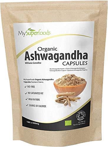 MySuperFoods Ashwagandha Orgánica en Cápsulas 180x500mg, Rica Fuente de Vitamina B6 y B12