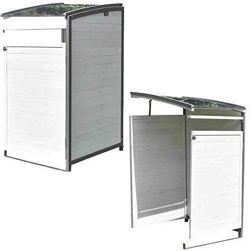 Melko Mülltonnenbox Anbaubox 120 Liter aus Holz Anthrazit/Weiß 68 x 68 x 127 cm, inkl. Rückwand