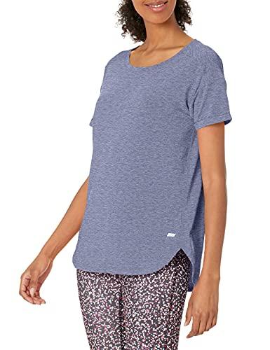 Amazon Essentials Studio Relaxed-Fit Crewneck T-Shirt Fashion-t-Shirts, Azul Jaspeado (Nightshadow Blue Heather), Large