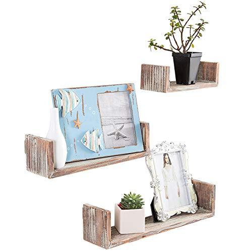 Wall Mounted Torched Wood U-Shaped Floating Shelves, Set of 3, Dark Brown
